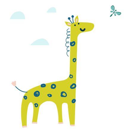 Cute cartoon giraffe watching butterfly vector illustration. Hand drawn wild animal.