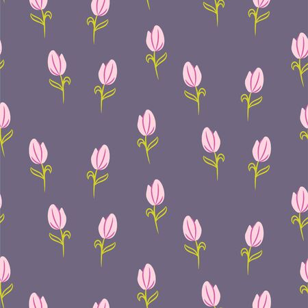 Rose pink tulips pattern background. Cartoon style spring flowers seamless floral purple backdrop vector. 矢量图像