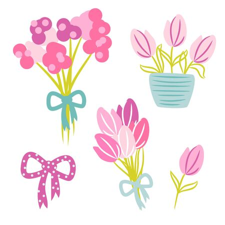 Tulips spring bouquet with bow ribbon vector cartoon illustration. 矢量图像