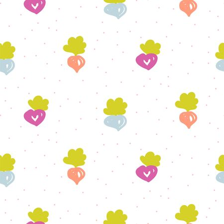 Beetroot cartoon seamless pattern with hand drawn vegetables. Vector spring illustration with cute beet.