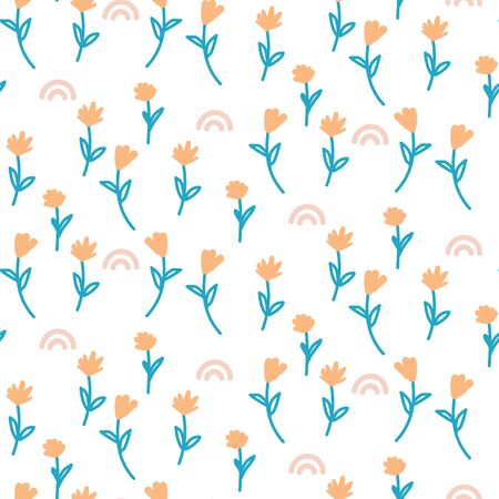 Vector seamless ditsy floral pattern. Blue orange flowers on white background print. 矢量图像