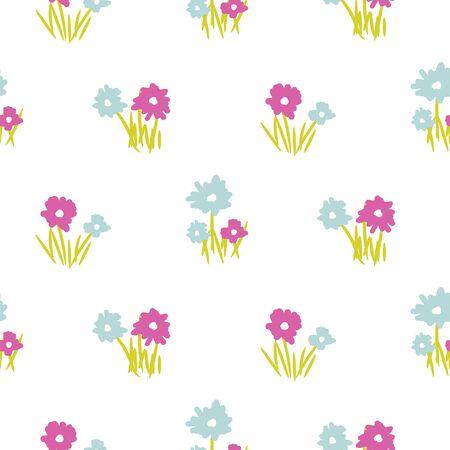 Vector seamless vintage handdrawn floral pattern. Blue flowers white background print.