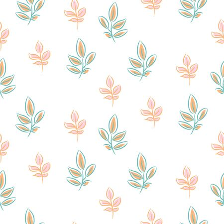 Foliage seamless vintage floral pattern. Blue leaves and branches white background print.