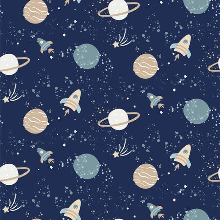 Seamless pattern with space rockets, planets and stars. Deep blue kids cosmos pattern. Universe cartoon texture background. 矢量图像