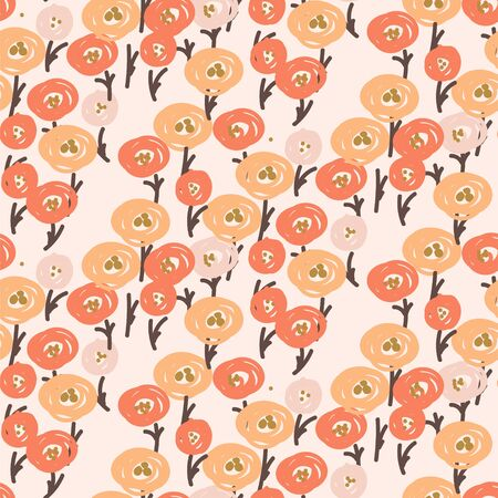Poppy pale red vector seamless vintage floral pattern. Poppy flowers white background print.