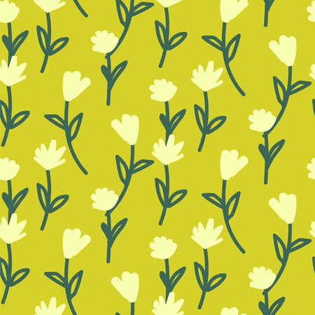 Green vector seamless vintage floral pattern. Handdrawn flowers grass background print.
