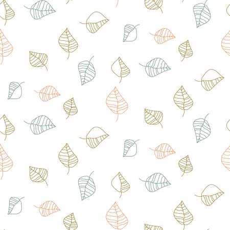 Foliage outline drawn seamless vintage floral pattern. Blue leaves white background print. Ilustração