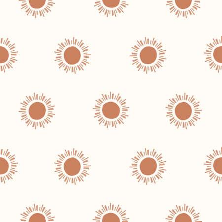 Seamless pattern with sun star. Beige tan simple pattern. Universe cartoon texture background.