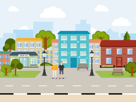 A beautiful, bright, sunny city. It's day outside. Many houses of different colors. People guy and girl, green trees, blue sky, lanterns, shop. Illustration for your creativity