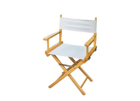 White Directors Chair isolated on white background with clipping path Stock Photo