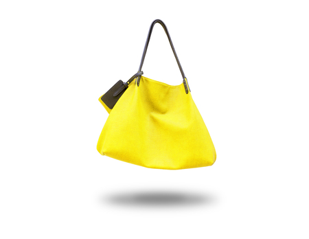 The yellow bag lady,isolated
