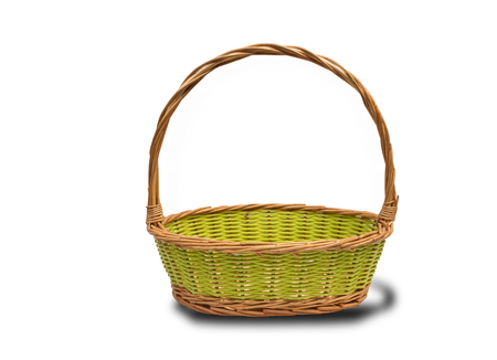interleaved: Empty wicker basket isolated on white background with clipping path.Perfect for a gift basket