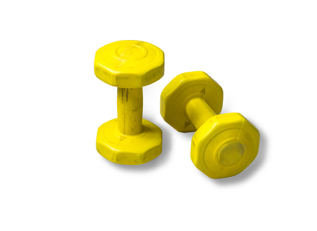 Yellow old Dumbbell on a white background.with clipping path