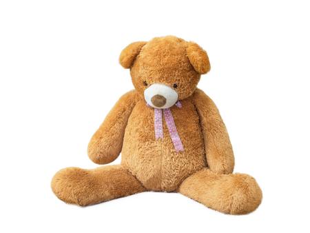 Teddy bear low ones head.teddy bear was sad. Teddy bear isolated on white ground Stock Photo