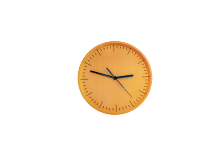Wooden round wall watch - clock isolated on white background,with clipping path
