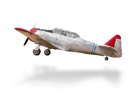 Retro plane struck the ground white.with clipping path Stock Photo