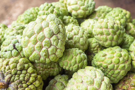 Custard apple is stacked together in the bazaar.