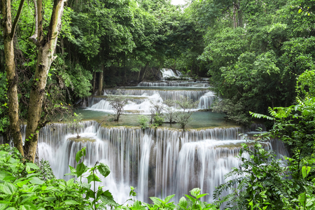 Huai Mae Khamin Waterfall (Fourth floor), tropical rainforest at Srinakarin Dam, Kanchanaburi, Thailand.Huai Mae Khamin Waterfall is the most beautiful waterfall in Thailand. Unseen Thailand