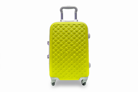 Suitcases yellow, isolated Stock Photo