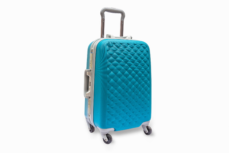 Suitcases cyan, isolated, with clipping path.