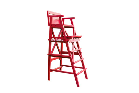 Lifeguard Chair, Isolated On White Background With Clipping Path. Stock  Photo   91334400