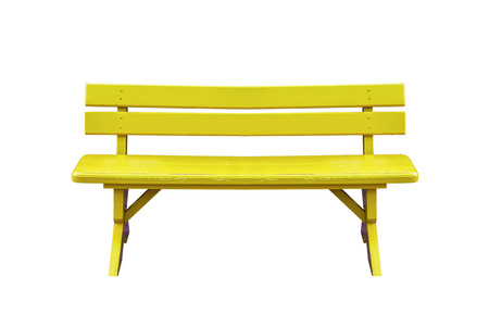 Yellow wood bench isolated on white background with clipping path.