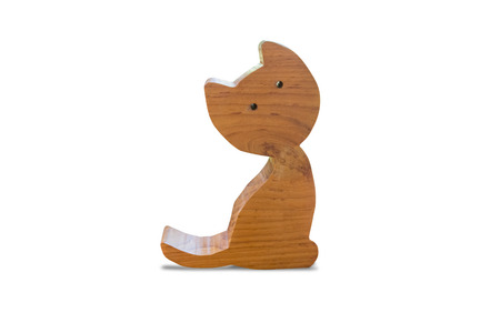 Cat doll made of wood for decor, isolated on white background with clipping path.
