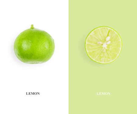 Flat lay layout, lemon with full balls and split ends. Food concept.