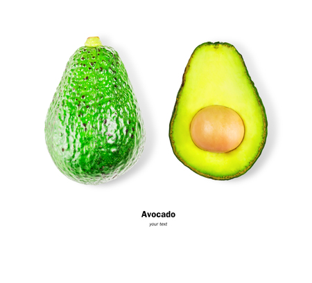 Flat lay, full bodied avocado effect and half cut, isolated on white background with clipping path.food concept