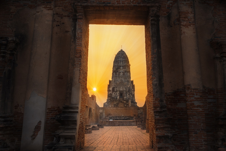 the door to see the pagoda at Ratchaburana temple, Ratchaburana temple is a historic site in Phra Nakhon Si Ayutthaya Historical Park, Thailand.
