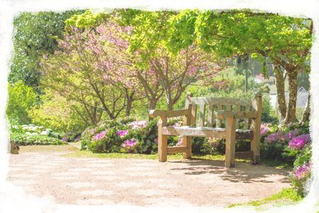 watercolor seats in the garden