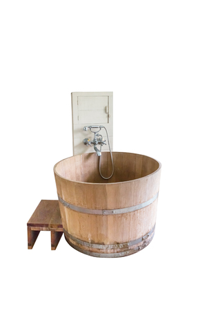 Wooden tub, isolated on white background with clipping path Stock Photo