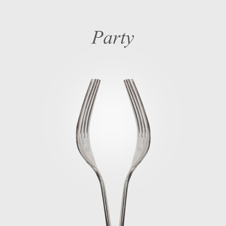 Fork is shaped like a glass with text party, a celebration concept, Drinking Stock Photo