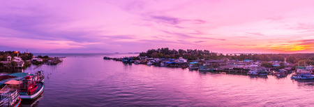 Panorama, Prasae Gulf views at dusk. Prasae a Gulf fishing communities with ancient civilizations. Tourism is one of Rayong province, Thailand.