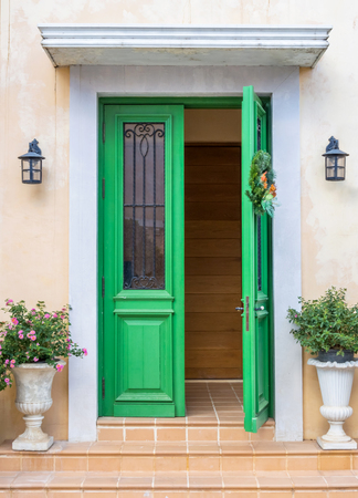 Green door European style Stock Photo