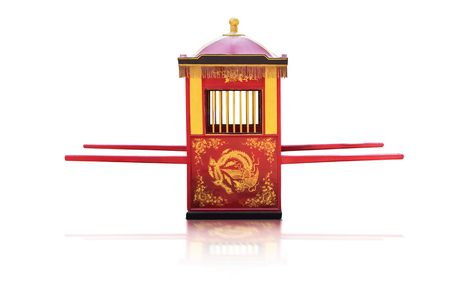 Traditional Chinese culture,Palanquin carrying the bride isolated on white background