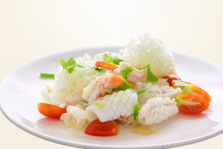 Spicy mixed seafood salad.Thailand food that tastes sour, spicy. Popular appetizers.