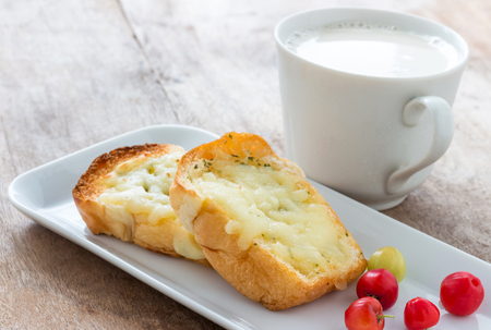 Bread baked with cheese for Breakfast Reklamní fotografie
