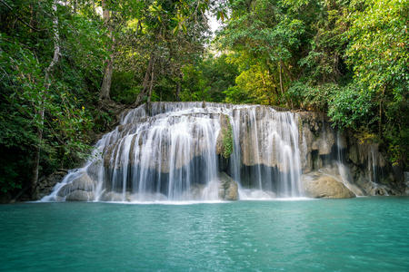 Erawan water fall (Second floor), tropical rainforest at Srinakarin Dam, Kanchanaburi, Thailand.Erawan water fall is  beautiful waterfall in Thailand. Unseen Thailand - Image Reklamní fotografie