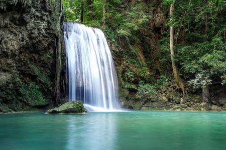 Erawan water fall (Third floor), tropical rainforest at Srinakarin Dam, Kanchanaburi, Thailand.Erawan water fall is  beautiful waterfall in Thailand. Unseen Thailand 写真素材