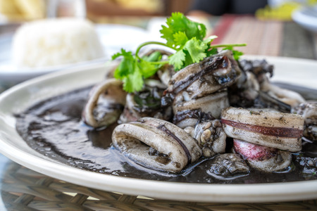 Squid black soup, local food in eastern Thailand