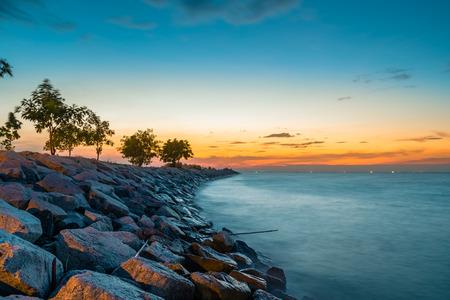 long exposure, view at dusk of  breakwater