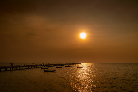 Panoramic view of the jetty at dusk