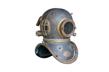 Retro diving helmet ,isolated on white background with clipping path.