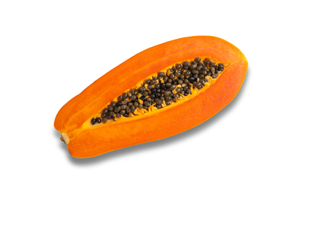 Papaya ripen in half, isolated on white background with clipping path. 写真素材