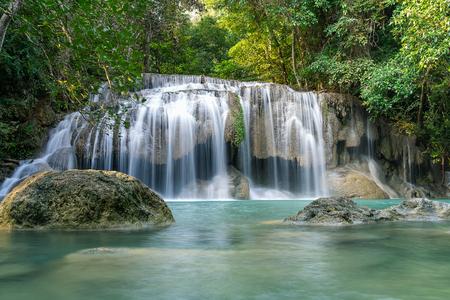 Erawan water fall (Second floor), tropical rainforest at Srinakarin Dam, Kanchanaburi, Thailand.Erawan water fall is  beautiful waterfall in Thailand. Unseen Thailand - Image 写真素材
