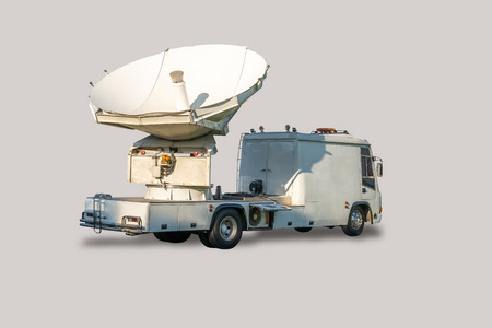 Satellite dish truck for live broadcast, isolated on white background with clipping path.