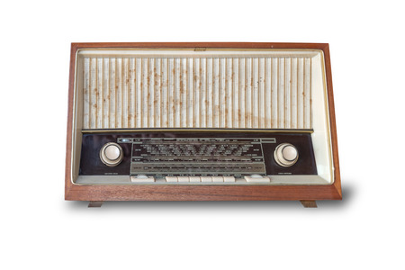 retro radio isolated on white background with clipping path.