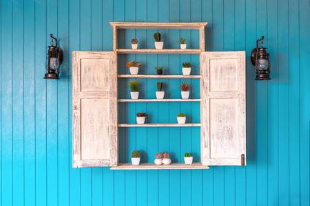 Vintage style interior decoration shelves