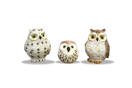 Owl family doll,isolated on white background with clipping path 写真素材